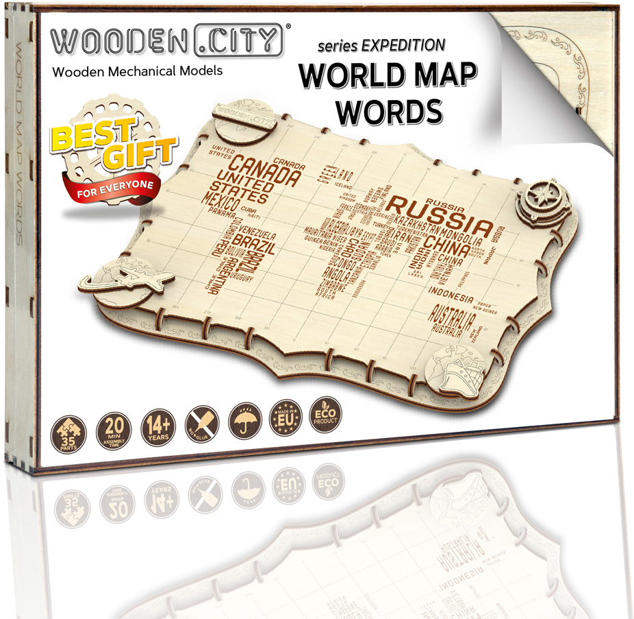 Wooden City mapa světa Expedition Series Words